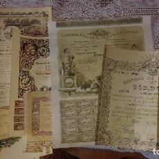 Coleccionismo Acciones Españolas: A-147.- LOTE DE-- 7-- ACCIONES, DISTINTAS Y DE VARIOS AÑOS , VER FOTOS DE TODAS ELLAS . Lote 137220898