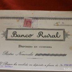 Coleccionismo Acciones Españolas: BANCO RURAL, ACCION DEPOSITO EN CUSTODIA, 2500 PTS, MURCIA, Nº82. Lote 138039538