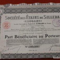 Coleccionismo Acciones Españolas: ACCION MINAS PONTEVEDRA, SILLEDA, SOCIETE DES ETAINS. Lote 138042118