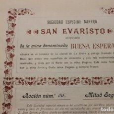 Coleccionismo Acciones Españolas: SOCIEDAD ESPECIAL MINERA, SAN EVARISTO, MINA BUENA ESPERANZA, LA UNION. Lote 138045822