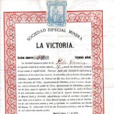 Coleccionismo Acciones Españolas: ACCIÓN 59 ENTRE 200, DE LA SOCIEDAD MINERA LA VICTORIA (ORO NATIVO Y PLOMO), LEÓN, 1870.. Lote 138535250
