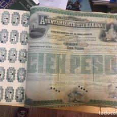 Coleccionismo Acciones Españolas: 1889.- OBLIGACION HIPOTECARIA DEL BANCO ESPAÑOL CON EL AYUNTAMIENTO DE LA HABANA. CON CUPONES 40X32. Lote 138560026