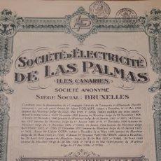 Coleccionismo Acciones Españolas: SOCIEDAD DE ELECTRICIDAD DE LAS PALMAS (ISLAS CANARIAS)1928. Lote 138722494