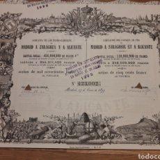 Coleccionismo Acciones Españolas: COMPAÑÍA DE LOS FERRO-CARRILES DE MADRID A ZARAGOZA Y A ALICANTE (1899). Lote 139652377