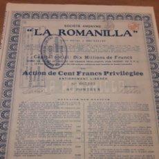 Coleccionismo Acciones Españolas: SOCIEDAD ANÓNIMA LA ROMANILLA (CIUDAD REAL) 1920. Lote 139677081