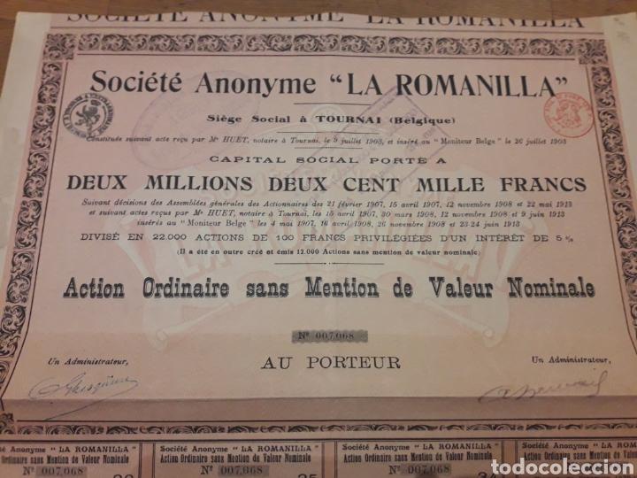 SOCIEDAD ANÓNIMA LA ROMANILLA (CIUDAD REAL) 1913 (Coleccionismo - Acciones Españolas)