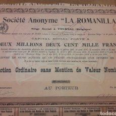 Coleccionismo Acciones Españolas: SOCIEDAD ANÓNIMA LA ROMANILLA (CIUDAD REAL) 1913. Lote 139677280