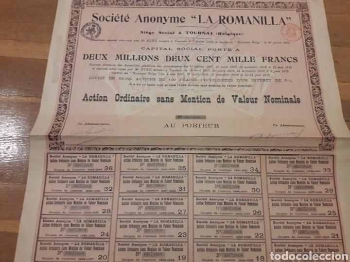 Coleccionismo Acciones Españolas: SOCIEDAD ANÓNIMA LA ROMANILLA (CIUDAD REAL) 1913 - Foto 2 - 139677280