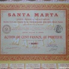 Coleccionismo Acciones Españolas: SANTA MARTA, SOCIEDAD MINERA Y METALÚRGICA (SANTA MARTA DE LOS BARROS, BADAJOZ) 1910. Lote 139686016