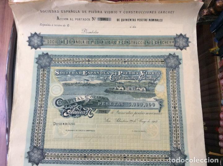 ACCION DE LA SOCIEDAD ESPAÑOLA DE PIEDRA VIDRIO Y CONSTRUCCIONES GARCHEY 1902 (Coleccionismo - Acciones Españolas)