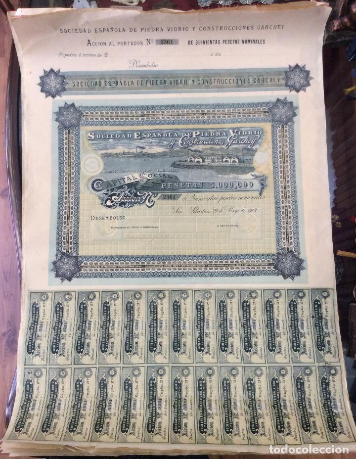 Coleccionismo Acciones Españolas: accion de la sociedad española de piedra vidrio y construcciones garchey 1902 - Foto 2 - 139812102