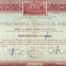 Coleccionismo Acciones Españolas: SOCIEDAD ESPAÑOLA HIDRÁULICA DEL FRESSER. Lote 139896486