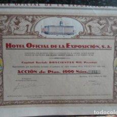 Coleccionismo Acciones Españolas: ACCION OFICIAL DE LA EXPOSICION S.A 1929. Lote 140016906