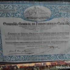 Coleccionismo Acciones Españolas: ACCION COMPAÑIA GENERAL DE FERROCARRILES CATALANES 1920. Lote 140018110