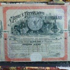 Coleccionismo Acciones Españolas: ACCION MINAS Y FERROCARRIL UTRILLAS 1909. Lote 140020442