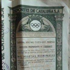 Coleccionismo Acciones Españolas: ACCION DEPORTES CATALUÑA S.A 1941. Lote 140021730