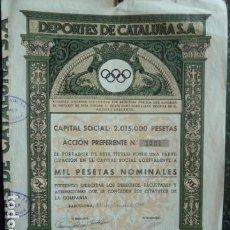 Coleccionismo Acciones Españolas: ACCION DEPORTES CATALUÑA S.A 1941. Lote 140022254