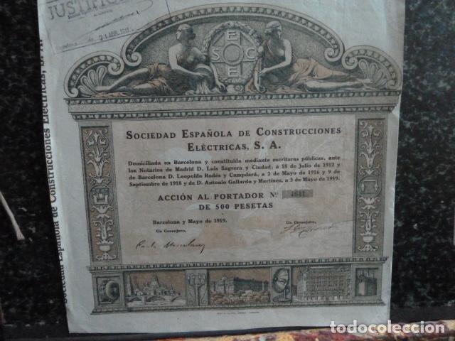 ACCION SOCIEDAD ESPAÑOLA DE CONSTRUCCION (Coleccionismo - Acciones Españolas)