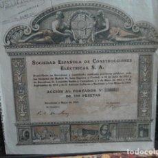 Coleccionismo Acciones Españolas: ACCION SOCIEDAD ESPAÑOLA DE CONSTRUCCION. Lote 140023482