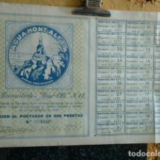 Coleccionismo Acciones Españolas: ACCION DE AGUA MONT-ALT . Lote 140025998