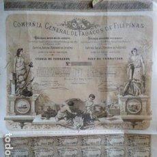 Coleccionismo Acciones Españolas: ACCION COMPAÑIA GENERAL DE TABACOS DE FILI PINAS 1882. Lote 140033474