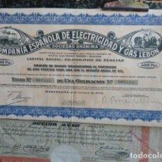 Coleccionismo Acciones Españolas: ACCION COMPAÑIA ESPAÑOLA DE ELECTRICIDAD Y GAS LEBON. Lote 140036598
