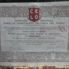 Coleccionismo Acciones Españolas: ACCION COMPAÑIA ESPAÑOLA PARA LA FABRICACION MECANICA DEL VIDRIO. Lote 140041682