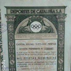 Coleccionismo Acciones Españolas: ACCION DEPORTES DE CATALUÑA 1941. Lote 140063954