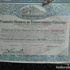 Coleccionismo Acciones Españolas: ACCION COMPAÑIA GENERAL DE FERROCARRILES CATALANES. Lote 140064326