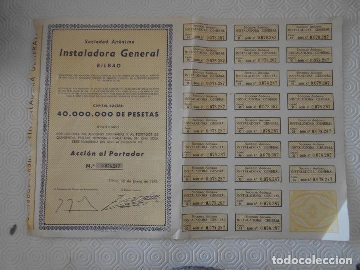 SOCIEDAD ANONIMA INSTALADORA GENERAL. BILBAO. ACCION AL PORTADOR. AÑO 1976. (Coleccionismo - Acciones Españolas)