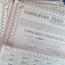 Coleccionismo Acciones Españolas: LOTE DE 136 ACCIONES, ACCION CONSERVAS TRIGO, TRINARANJUS, VALENCIA 1978, 5000 PESETASCON CUPONES. Lote 140742230