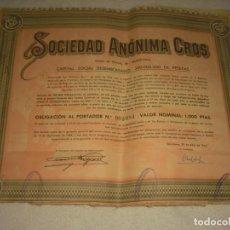 Coleccionismo Acciones Españolas: SOCIEDAD ANONIMA CROS. OBLIGACION 1955.VALOR NOMINAL 1000 PTAS.. Lote 140753210