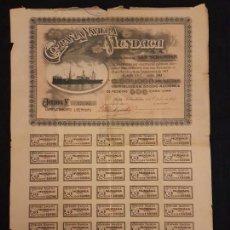 Coleccionismo Acciones Españolas: ACCION COMPAÑIA NAVIERA MUNDACA SAN SEBASTIAN 1917. Lote 140807690
