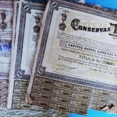 Coleccionismo Acciones Españolas: LOTE DE 152 ACCIONES, ACCION CONSERVAS TRIGO, TRINARANJUS, VALENCIA 1943, 500 PESETAS , CON CUPONES. Lote 140901746