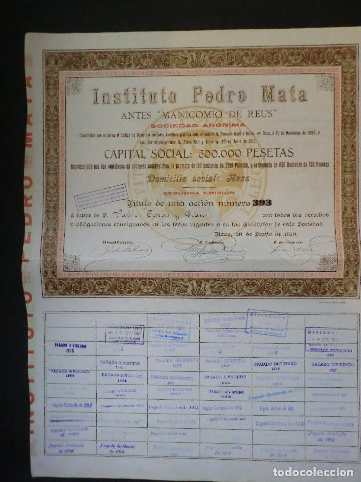 ACCION INSTITUTO PEDRO MATA DE REUS - SEGUNDA EMISIÓN - 1910 - (Coleccionismo - Acciones Españolas)