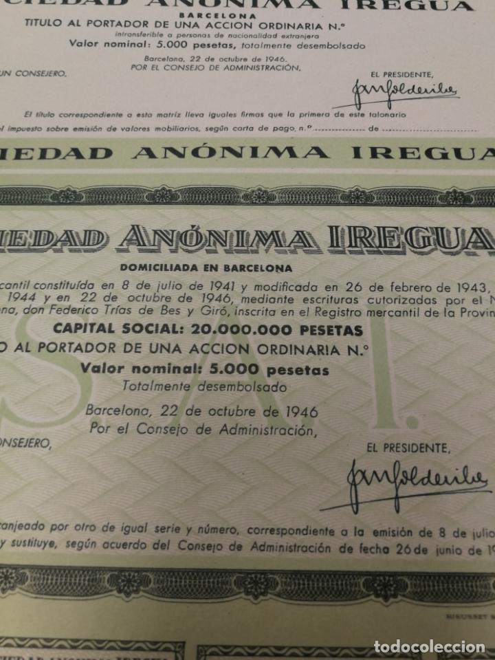 ACCION OBLIGACION ACCIÓN SOCIEDAD ANONIMA IREGUA BARCELONA 1946 (Coleccionismo - Acciones Españolas)