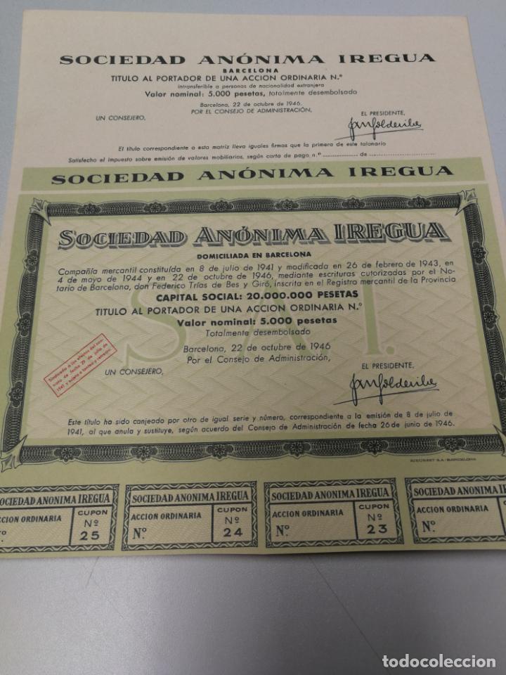 Coleccionismo Acciones Españolas: ACCION OBLIGACION ACCIÓN SOCIEDAD ANONIMA IREGUA BARCELONA 1946 - Foto 2 - 142130074