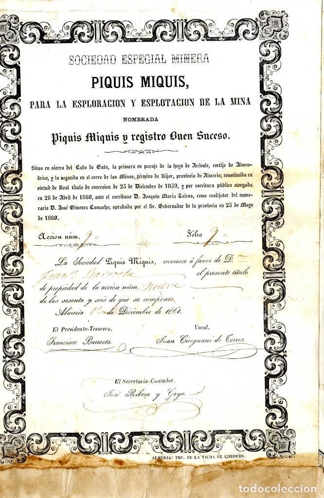 ALMERIA CABO DE GATA SOC ESP MINERA PIQUIS MIQUIS AÑO 1861 ACC 9 SOBRE 66 UDES (Coleccionismo - Acciones Españolas)