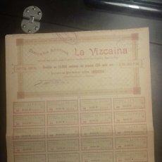 Coleccionismo Acciones Españolas: ACCIÓN AÑO 1901 COMPAÑÍA ANÓNIMA LA VIZCAÍNA. Lote 142296993