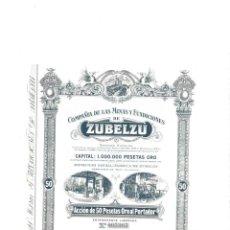 Collezionismo Azioni Spagnole: COMPAÑÍA DE LAS MINAS Y FUNDICIONES DE ZUBELZU. IRÚN, 1913. Lote 142593454