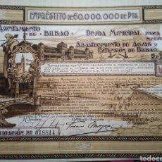 Coleccionismo Acciones Españolas: ACCION AYUNTAMIENTO DE BILBAO. 1927.. Lote 143279964