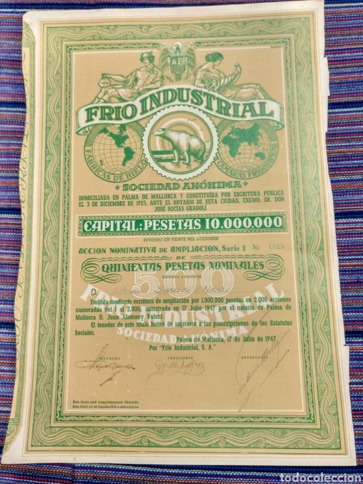 BONITA ACCIÓN DE 500 PESETAS 1947 FRIO INDUSTRIAL PALMA MALLORCA OSO POLAR (Coleccionismo - Acciones Españolas)