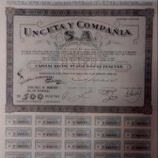 Coleccionismo Acciones Españolas: ACCIÓN, UNCETA Y COMPAÑIA, GUERNICA, 1952. Lote 144011042