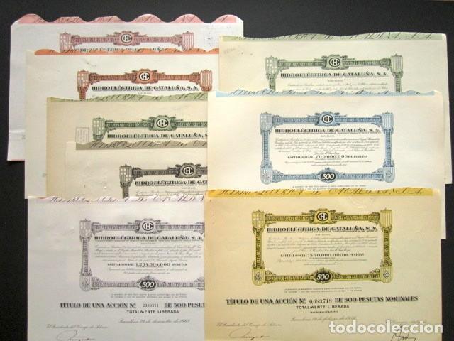LOTE DE 11 ACCIONES ORIGINALES DIFERENTES. HIDROELÉCTRICA DE CATALUÑA, S.A. DESDE 1951 HASTA 1985. (Coleccionismo - Acciones Españolas)