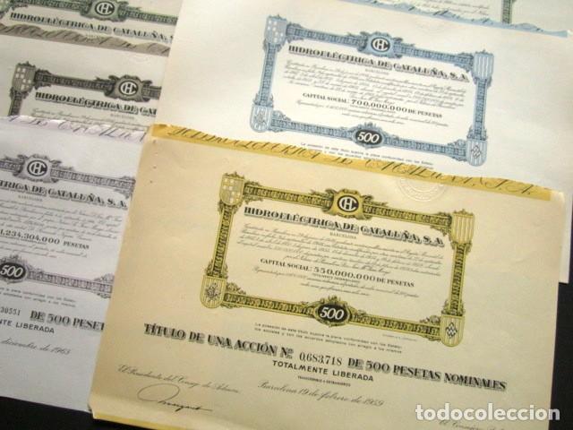 Coleccionismo Acciones Españolas: LOTE DE 11 ACCIONES ORIGINALES DIFERENTES. HIDROELÉCTRICA DE CATALUÑA, S.A. DESDE 1951 HASTA 1985. - Foto 3 - 146118826