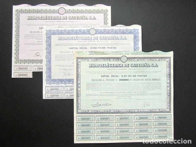 Coleccionismo Acciones Españolas: LOTE DE 11 ACCIONES ORIGINALES DIFERENTES. HIDROELÉCTRICA DE CATALUÑA, S.A. DESDE 1951 HASTA 1985. - Foto 4 - 146118826