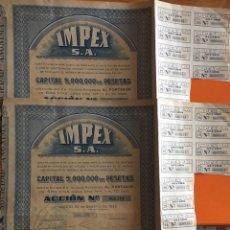 Coleccionismo Acciones Españolas: DOS ACCIONES- IMPEX SA- MADRID 1.939. Lote 146112038