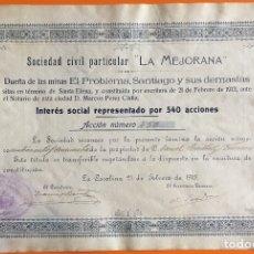 Coleccionismo Acciones Españolas: ACCION S.C. LA MEJORANA- LA CAROLINA- JAEN 1.9132. Lote 146114090