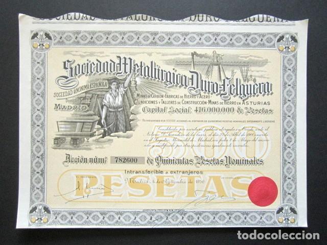 ACCIÓN SOCIEDAD METALÚRGICA DURO-FELGUERA, ASTURIAS. MADRID, AÑO 1956. (Coleccionismo - Acciones Españolas)