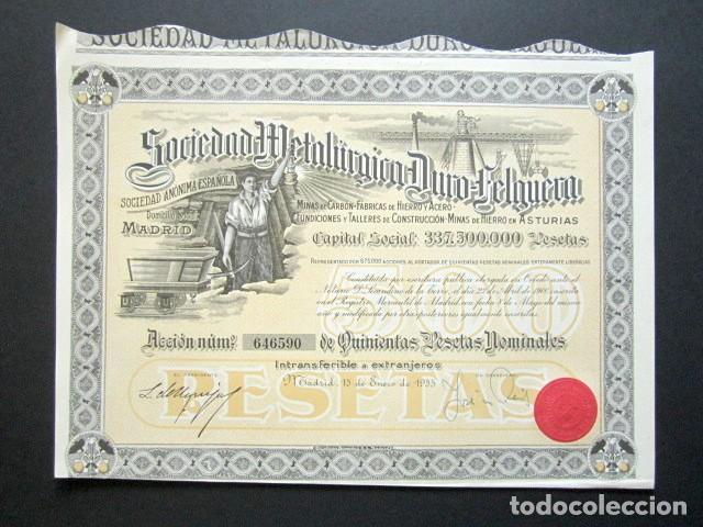 ACCIÓN SOCIEDAD METALÚRGICA DURO-FELGUERA, ASTURIAS. MADRID, AÑO 1955. (Coleccionismo - Acciones Españolas)